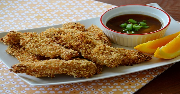 Sesame Chicken Fingers With Spicy Orange Dipping Sauce Recipe
