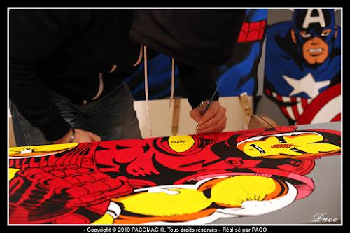 travail de mise en couleur sur la toile de IRON MAN Par Paco illustrateur graphiste, artiste peintre