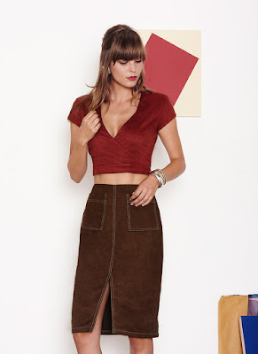 Suede Skirt Minimal 70s Midi Fashion Trend