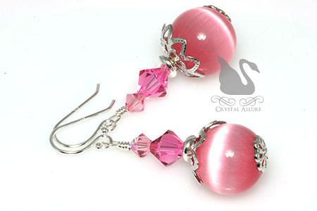 October Birthstone Earrings: Pink Cats Eye Crystal Beaded Earrings (EBC109)