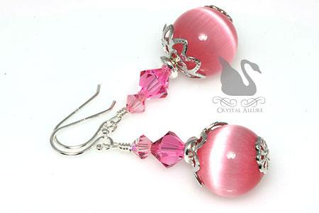 October Birthstone Earrings: Pink Cats Eye Crystal Beaded Earrings (EBC109)