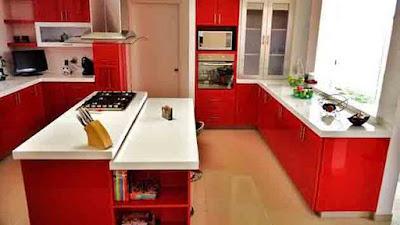 ห้องครัวเล็กสีแดง ขาว