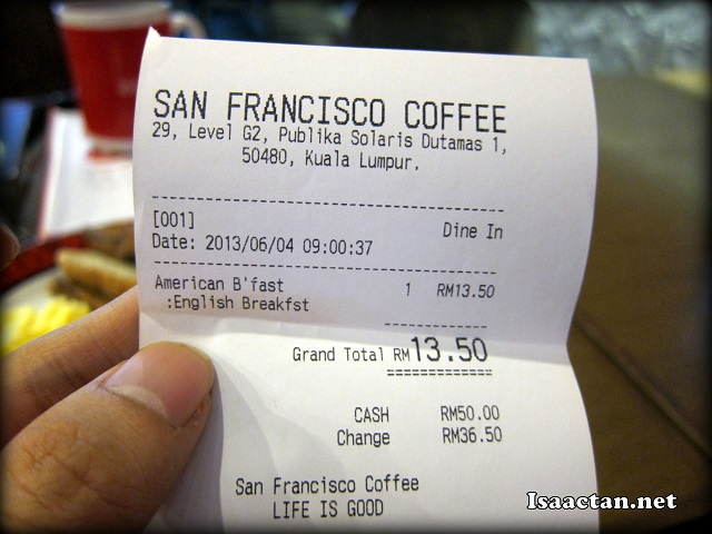 San Francisco Coffee Malaysia Food Menu