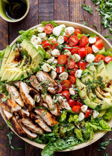 Balsamic Chicken Avocado Caprese Salad Recipe