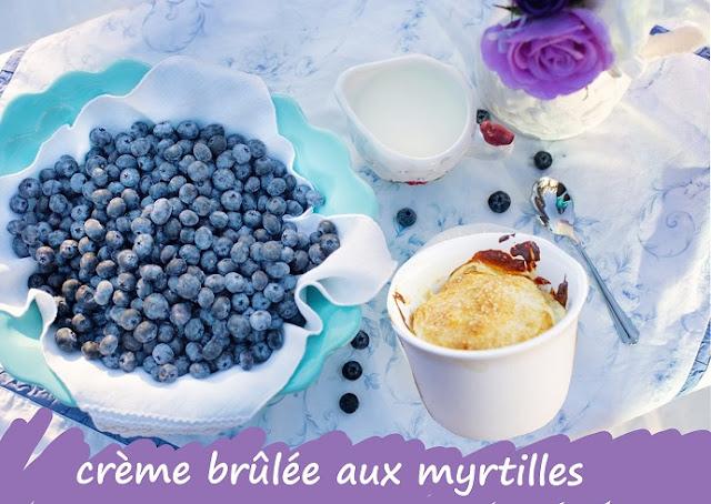 crème dessert aux myrtilles ou baies d'amelanchier, sans gluten