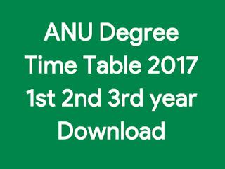 anu time table 2017