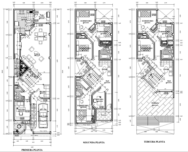 Planos en autocad unifamiliar 6x20 for Planos de casas 6x20