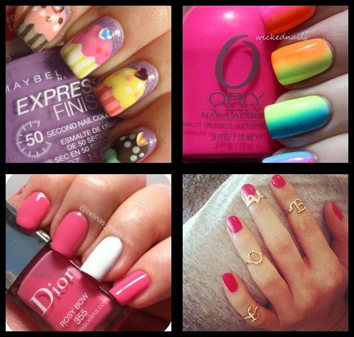 nail art cupcake; nail art colorida; nail art rosa