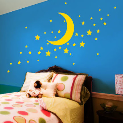 vinilo decorativo pared luna y estrellas, vinilo infantil, decoracion dormitorio, bebe, recien nacido