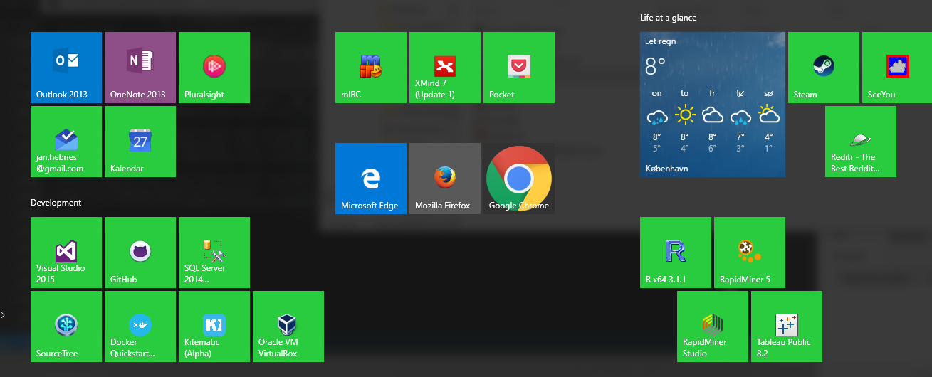 All that is not given is lost: Windows 10 start menu chrome
