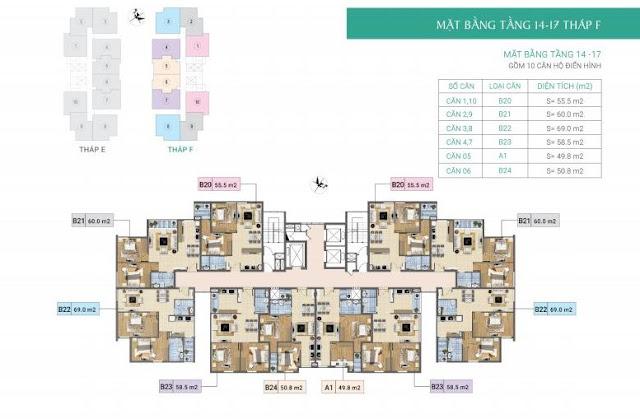 Mặt bằng tầng 4-17- Tòa F- Chung cư Xuân Phương Residence