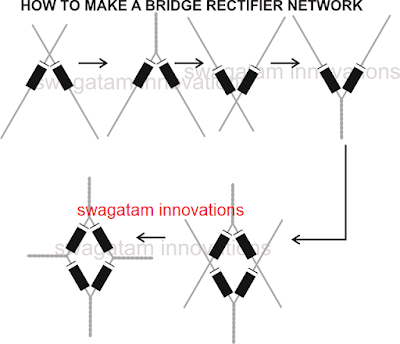 how to join diodes to make bridge rectifier circuit network