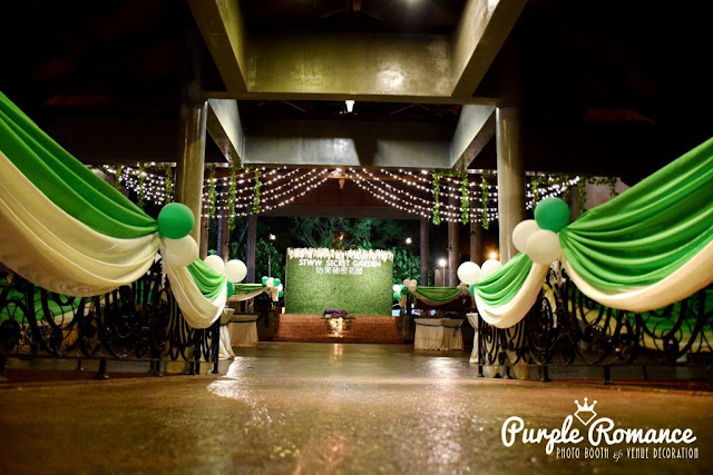 photo booth, instant print, decoration, decorator, vendor, corporate events, weddings, garden, lanterns, floral, carpet, lighting, walkway, draping, scallop, balloon arch, green and white, secret garden