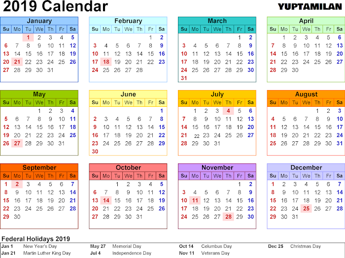 Download 2019 Calendar English|Tamil PDF