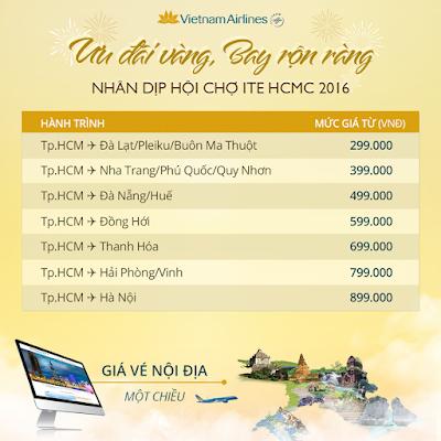 giá vé máy bay Vietnam Airlines ưu đãi vàng chặng nội địa