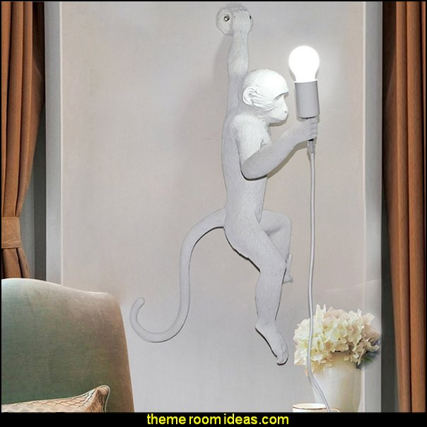 monkey lamp wall decoration   jungle theme bedrooms - safari jungle themed wild animals - jungle animals wild safari bedroom ideas - tropical jungle theme - jeep beds  - wild animal murals - tropical lagoon murals - Lion king Disney Jungle vines wall decals - jungle animals wall decals