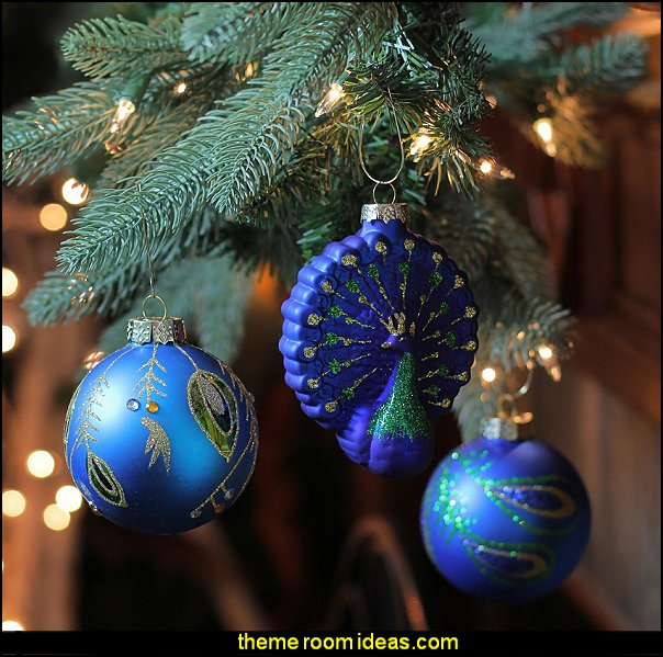 Peacock Glass Ornament Set  peacock color Christmas decorating - peacock color decorations - peacock themed Christmas - Peacock Tree Theme - peacock christmas tree decorations - Peacock Decorations - Peacock Tree Theme decorating Christmas Peacock - christmas feathered Peacock Christmas Ornaments - Peacock themed Christmas