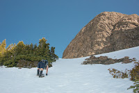 Phil quickly manhandling his way up the slope on his way to Alexandra Peak's summit Ridge