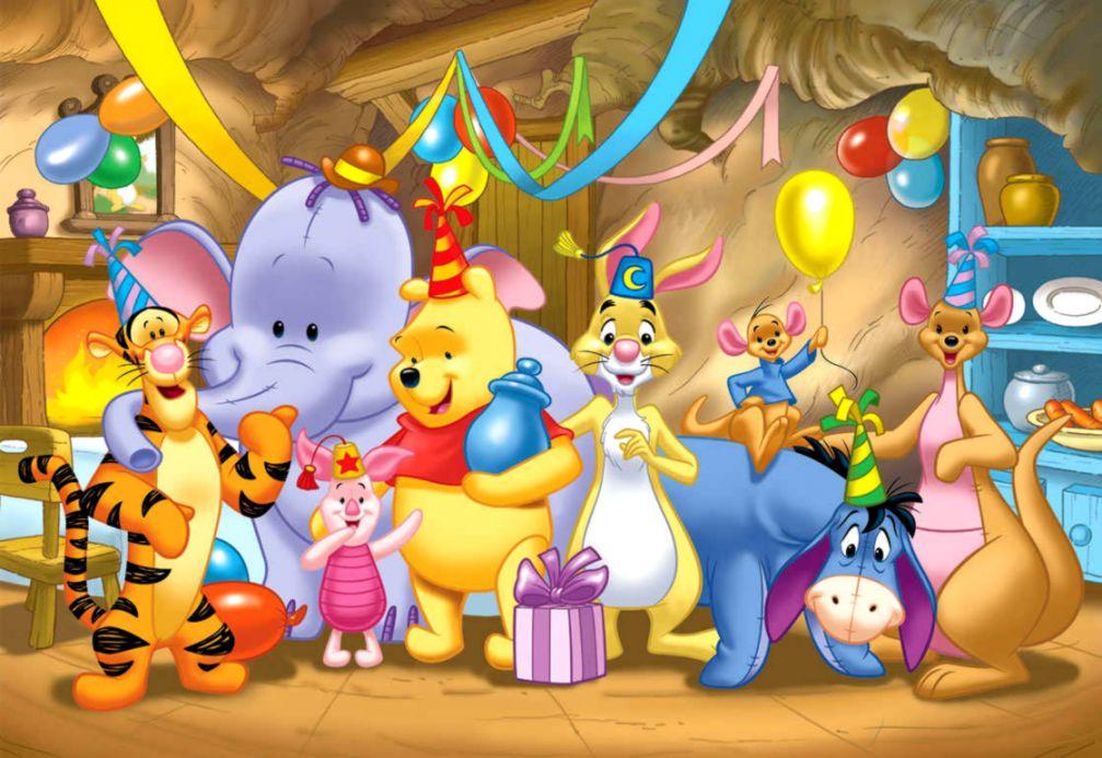 Christmas Celebration Cartoon Images.Winnie The Pooh Christmas Celebration Cartoon Wallpaper