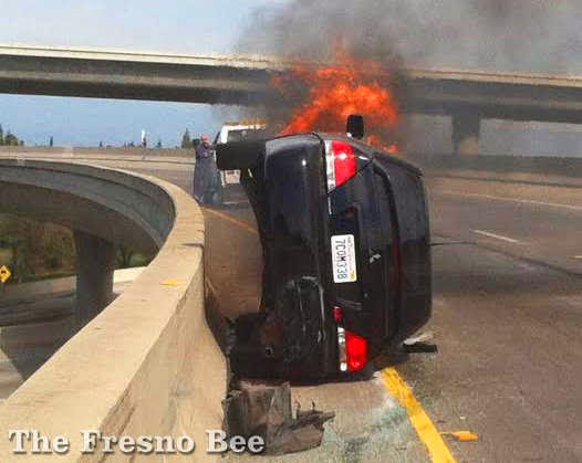 fresno car crash hit and run highway 180 fire accident