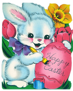 Clipart image of a vintage Easter greeting with a blue bunny painting a pink egg