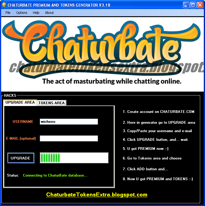 Chaturbate username and password with tokens