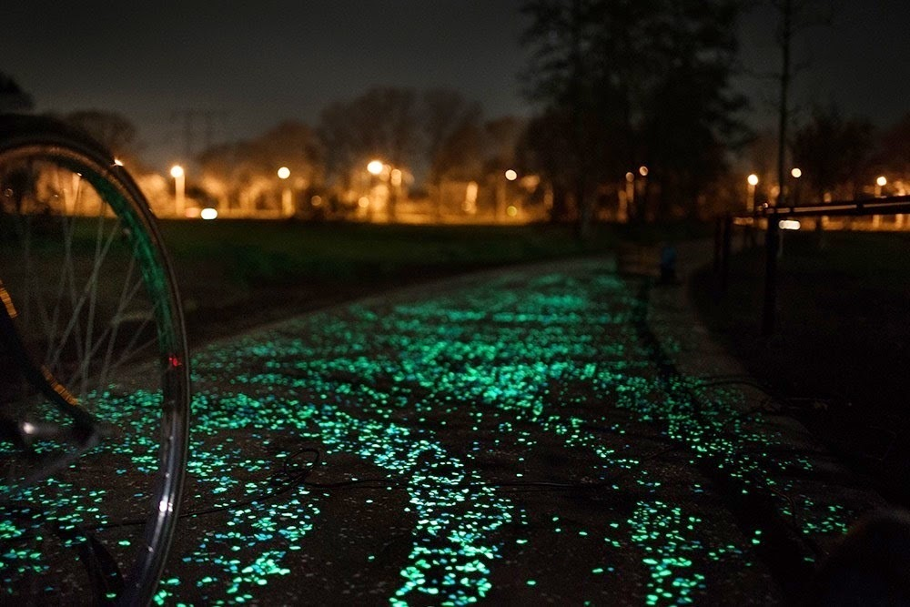 "The LED""s are powered by a nearby solar array. - Here's The Coolest Place For A 'Starry Night' Bike Ride."
