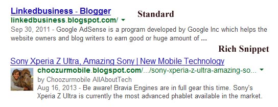 Google result showing author image near blog search result