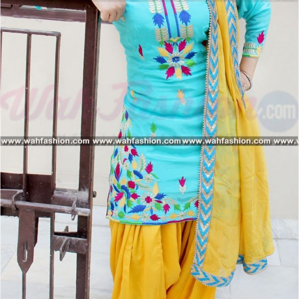TEMPTING SKY BLUE AND YELLOW EMBROIDERED SUIT Punjabi Suits