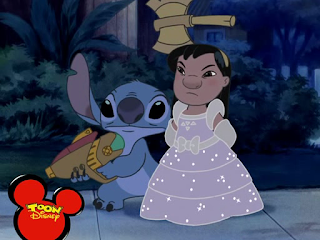 Lilo in a princess dress with an ax in her head. Well, a fake ax. It's part of her Halloween costume. Stitch stand next to her holding his space gun.