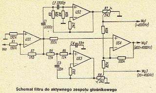 Schemat filtru do aktywnego zespołu głośnikowego
