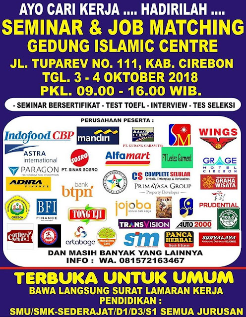 Job Fair  Islamic Centre Tuparev Cirebon  Oktober 2018