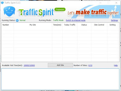 Tampilan awal Software Tool Generate Traffic - Bot Traffic Spirit