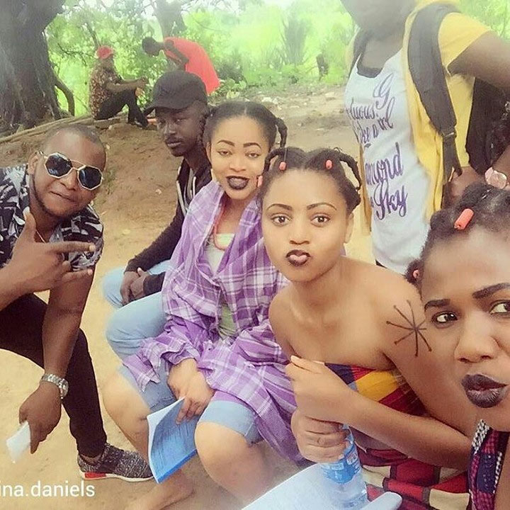"""Akanchawa"" singer Njideka Okeke ventures into Nollywood, pictured on movie set"
