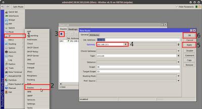 IP > Routes > + (add) > (masukkan ip gateway) > Apply > OK