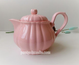 French Vintage Barbotine Teapot in Pastel Pink Pumpkin Shaped by Salins France. Stamped and Signed underside.