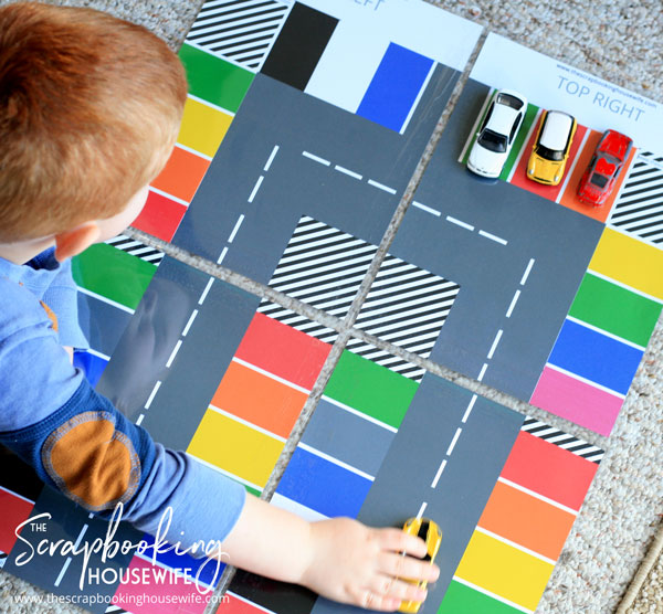 LEARN COLORS CAR PARKING ACTIVITY FOR TODDLERS FREE PRINTABLE from The Scrapbooking Housewife
