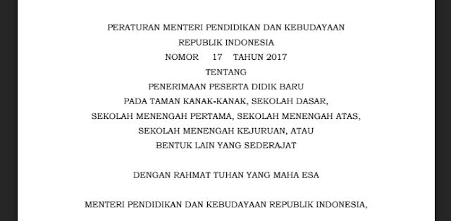 Download Permendikbud No 17 Tahun 2017 Tentang PPDB
