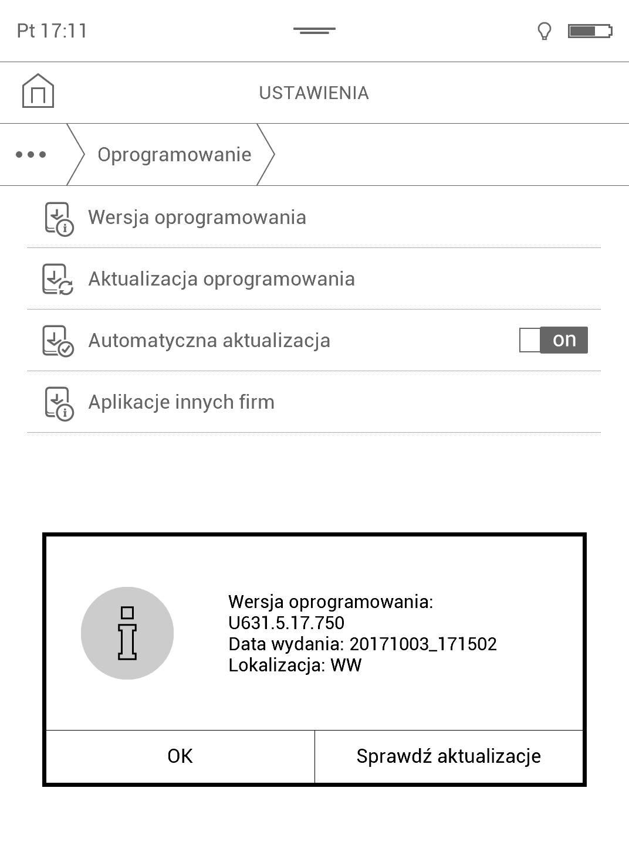 Zrzut ekranu z podaną wersją oprogramowania testowanego czytnika PocketBook TouchHD2