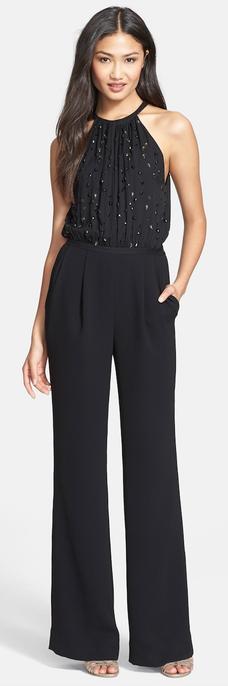 97aca9e220d Diane von Furstenberg Sleeveless Jumpsuit Faceted teardrop embellishments  twinkle over the pleated bodice of an ultrachic jumpsuit tailored with  full