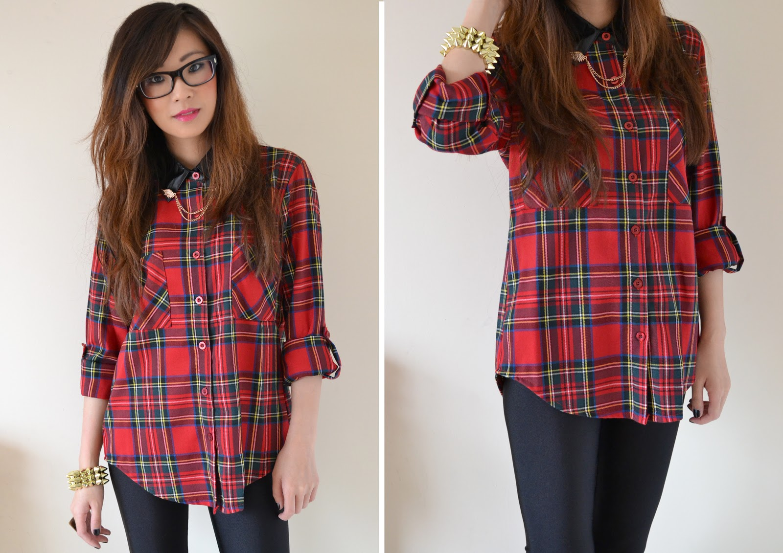 red tartan shirt with collar tips, collar tips, red tartan shirt, uk fashion blogger