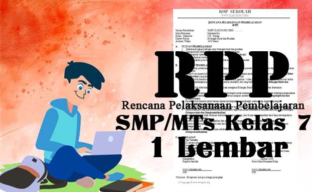 RPP 1 Lembar Bahasa Inggris Kelas 7 Revisi