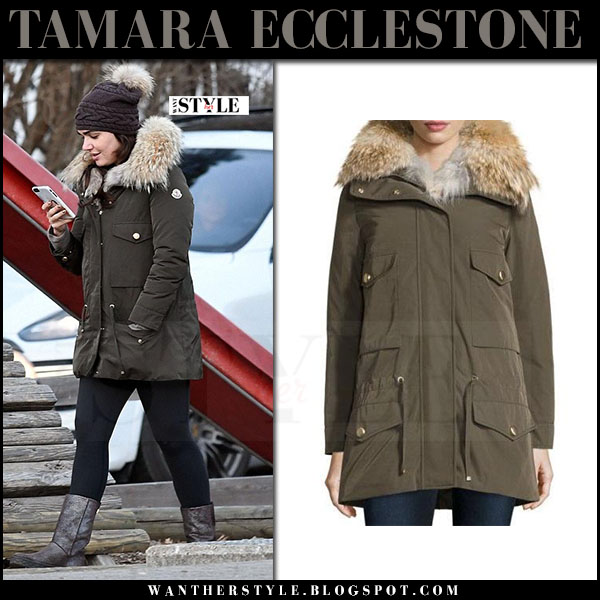 Tamara Ecclestone in khaki green canvas fur lined Moncler Margarita parka what she wore