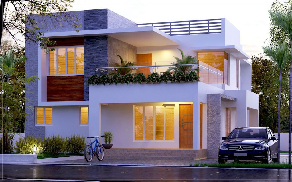 Contemporary 4 BHK Box type front view