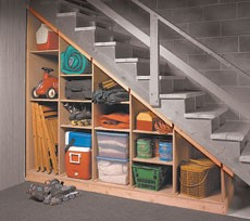 under stair shelves, basement stairs