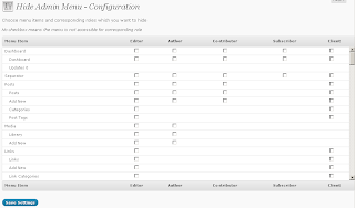 WordPress Hide Admin Menu Configuration