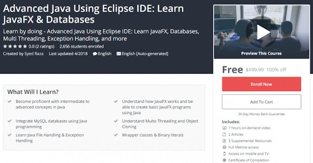 [100% Off] Advanced Java Using Eclipse IDE: Learn JavaFX & Databases (7Hrs)| Worth 199,99$