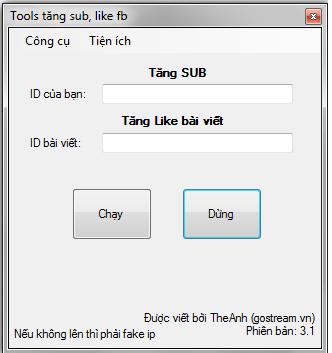 Share Tool Buff Sub Free Bằng ID ( Không Cần Token )