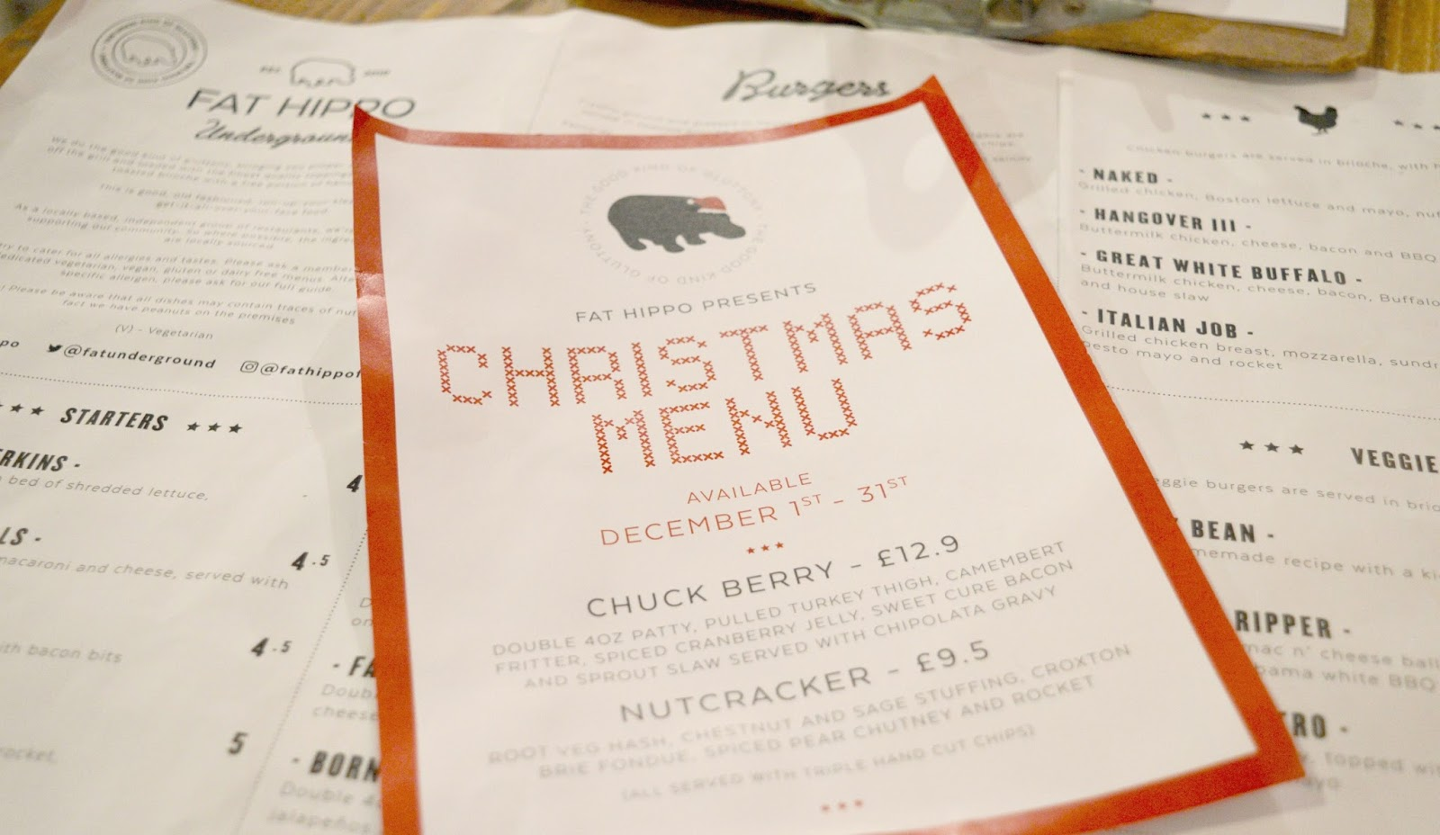 Fat Hippo Christmas Burger Menu