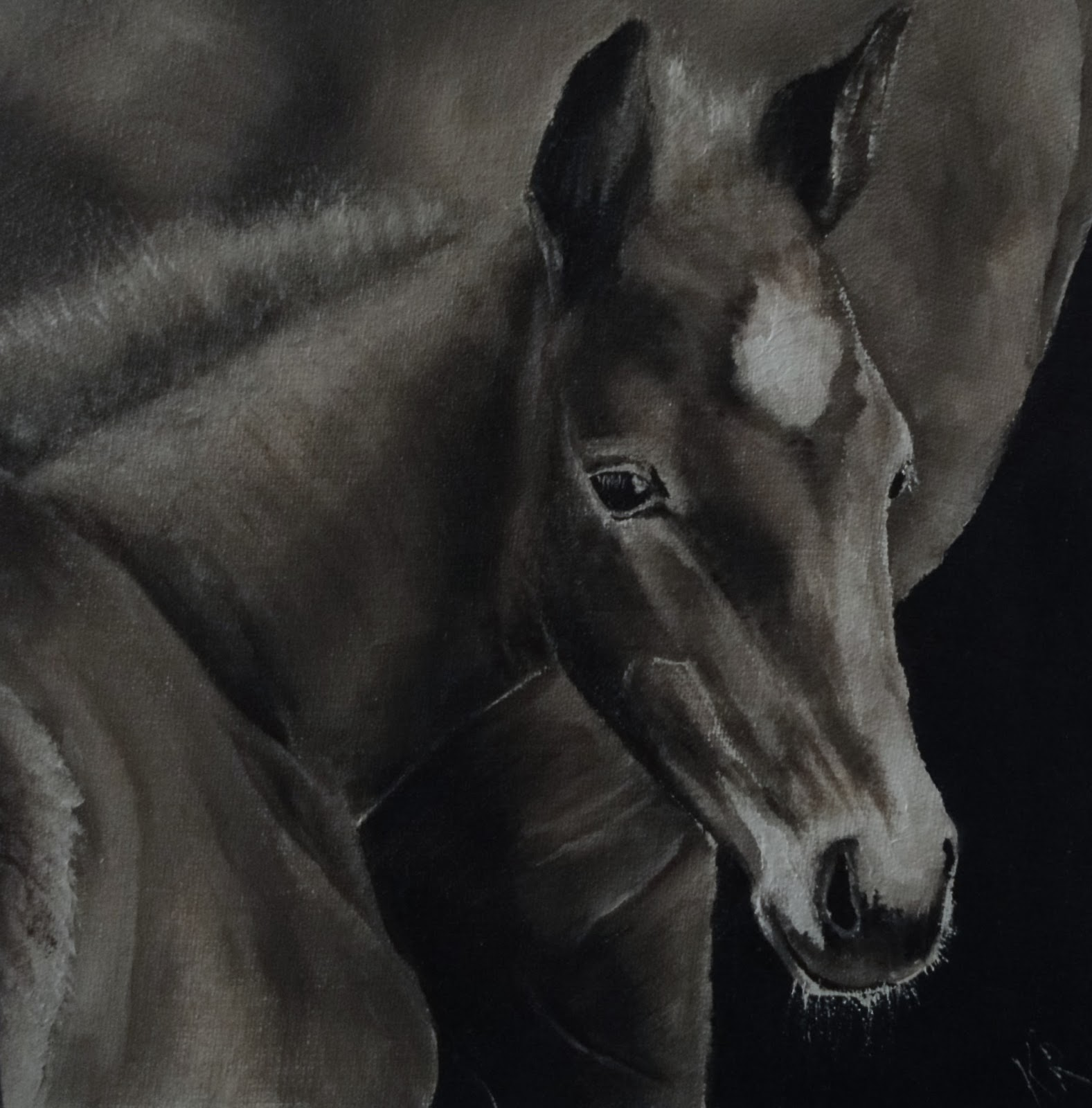 b & w oil painting of a foal close to its mother, a study in values, a pet portrait by Karen from Devon